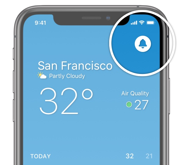 Weather app - notifications icon